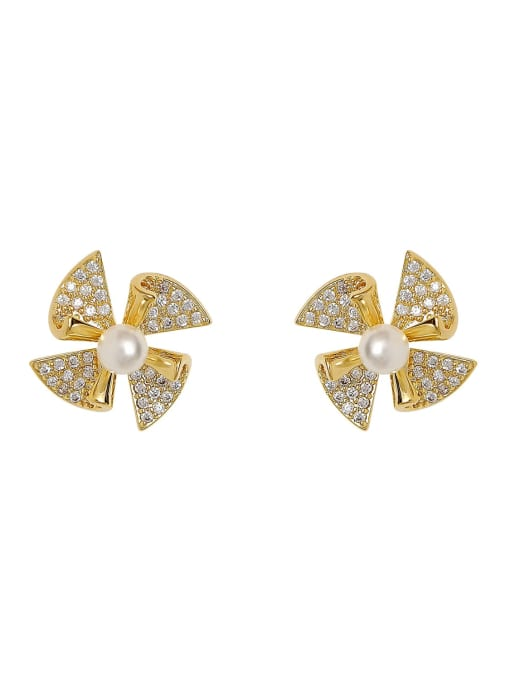 HYACINTH Brass Cubic Zirconia Clover Minimalist Stud Earring