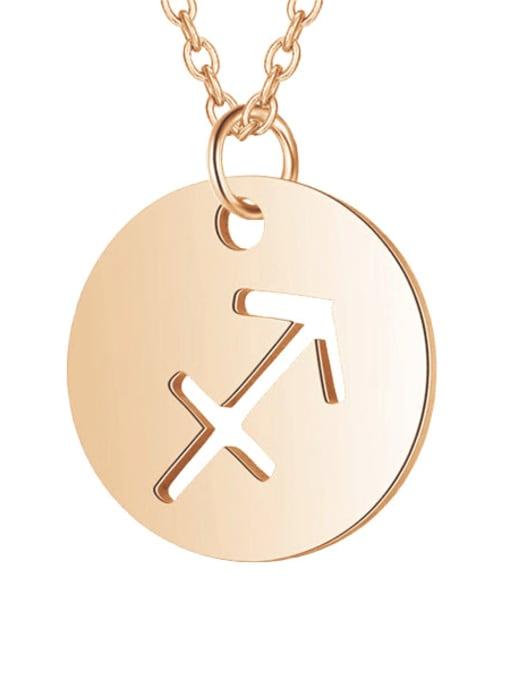 Sagittarius rose gold Titanium Steel Constellation Minimalist  Round Pendant Necklace