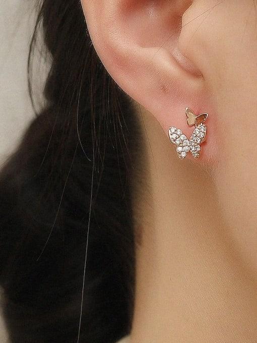 HYACINTH Brass Cubic Zirconia Butterfly Cute Stud Trend Korean Fashion Earring 1