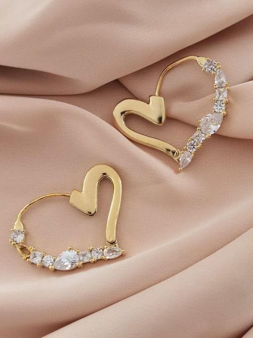 14k gold Brass Cubic Zirconia Heart Minimalist Stud Earring