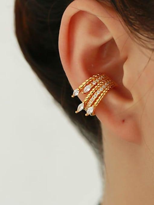 ACCA Brass Cubic Zirconia Geometric Hip Hop Single Earring 1