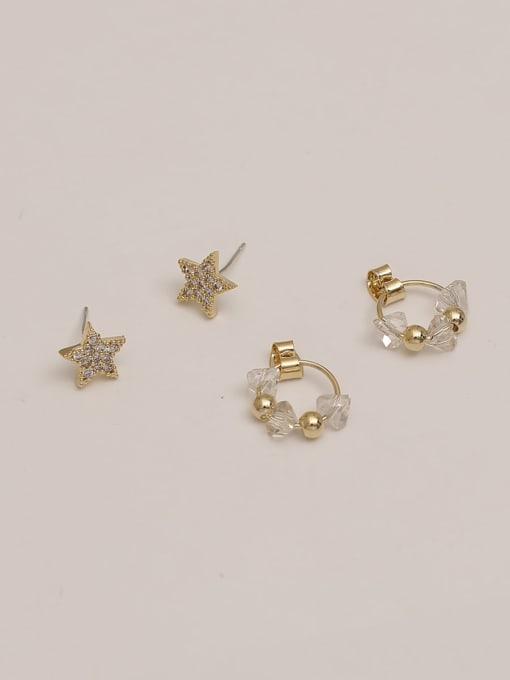 HYACINTH Brass Cubic Zirconia Star Vintage Pentagram White Crystal Huggie Earring 2