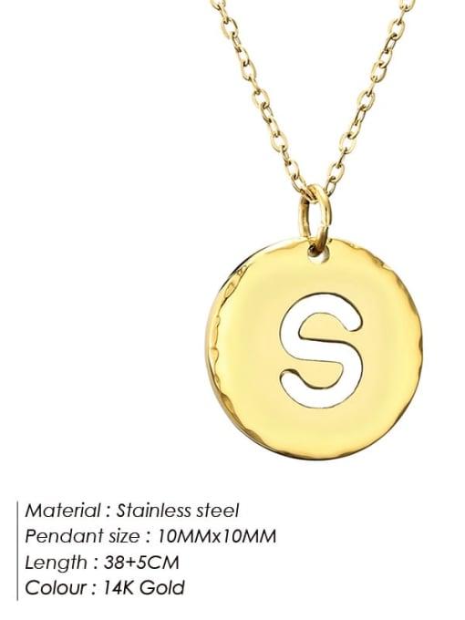 S Titanium Steel Letter Minimalist Round Pendant Necklace