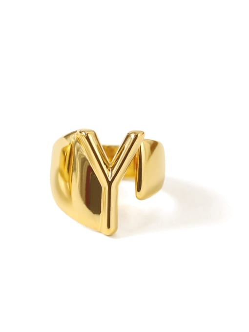 Y Brass  26 Letter Vintage Band Ring