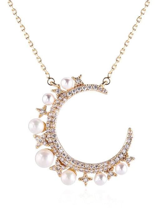 YILLIN Brass Imitation Pearl Moon Minimalist Necklace