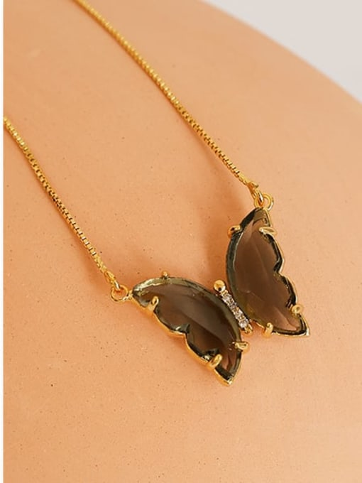 Five Color Brass Cubic Zirconia Butterfly Minimalist Necklace 2