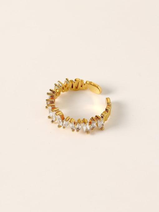 HYACINTH Brass Cubic Zirconia Geometric Vintage Band Ring