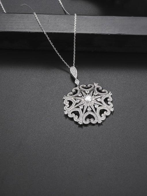 platinum Brass Cubic Zirconia Flower Dainty Necklace