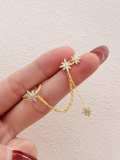 HYACINTH Brass Cubic Zirconia Star Minimalist Ear Cuff Earring 3