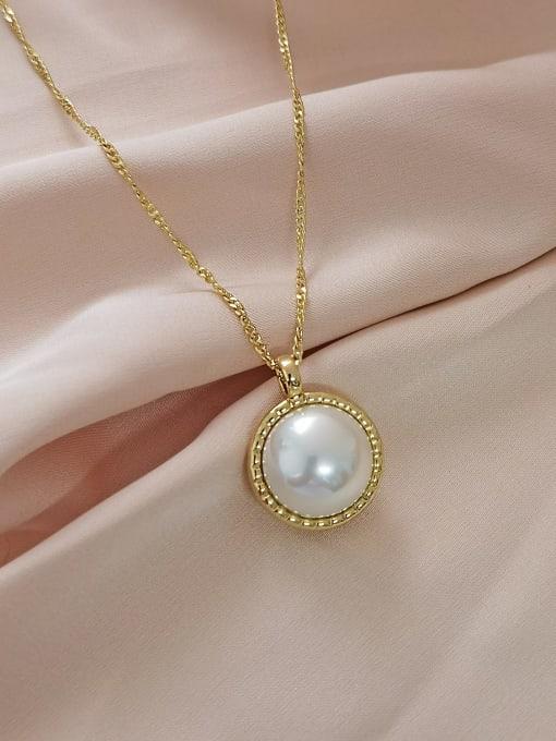 14k Gold +White Beads Brass Imitation Pearl Geometric Minimalist Necklace