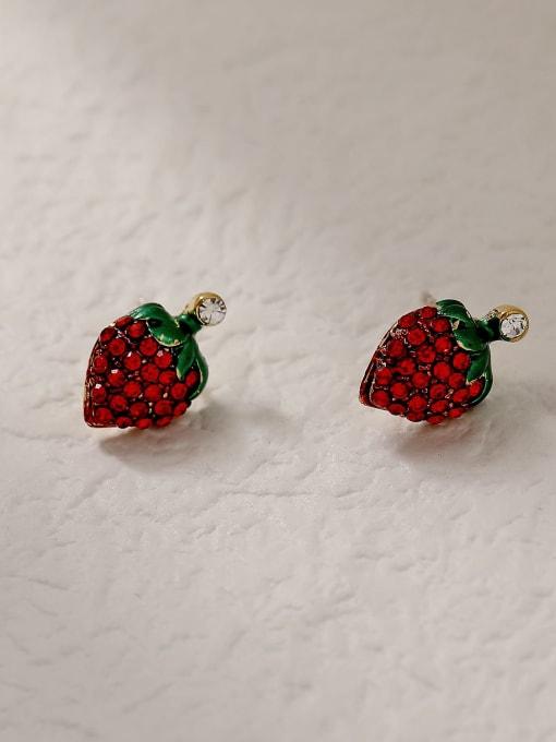 strawberry Brass Rhinestone Friut Cute Stud Trend Korean Fashion Earring