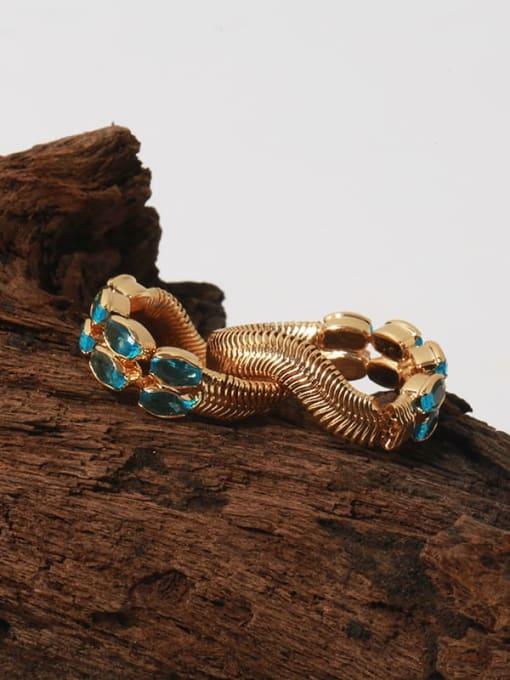 TINGS Brass Malchite Geometric Vintage Band Ring 2