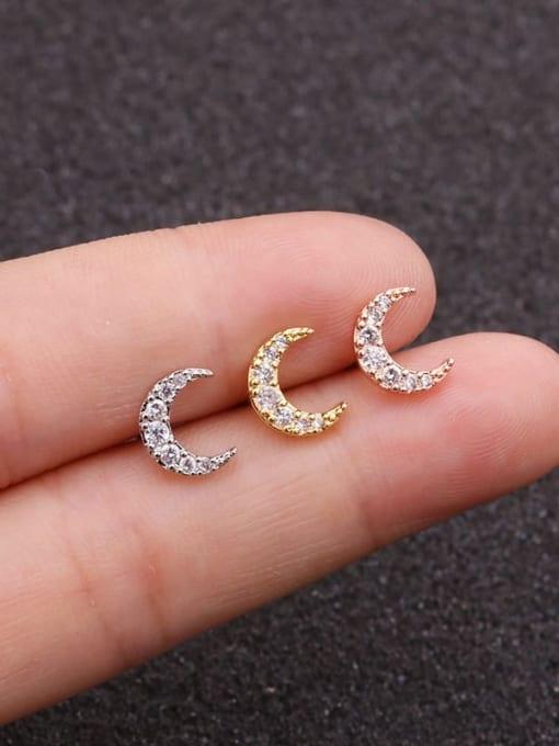 HISON Brass Cubic Zirconia Moon Cute Stud Earring 0