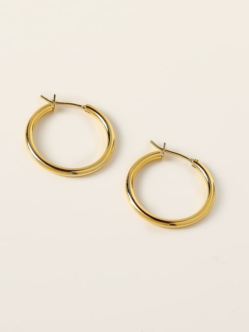 HYACINTH Brass Round Minimalist Hoop Earring 4