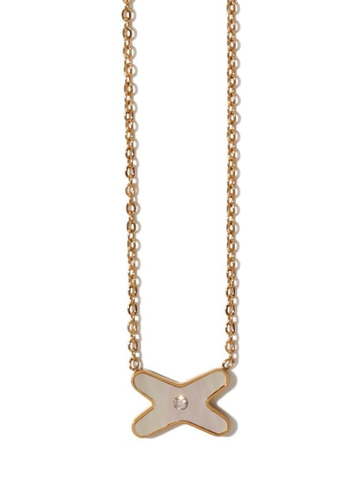 ACCA Brass Shell Cross Vintage Necklace 3