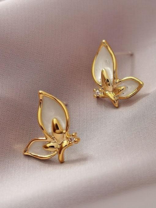 HYACINTH Brass Shell Butterfly Minimalist Stud Earring 3