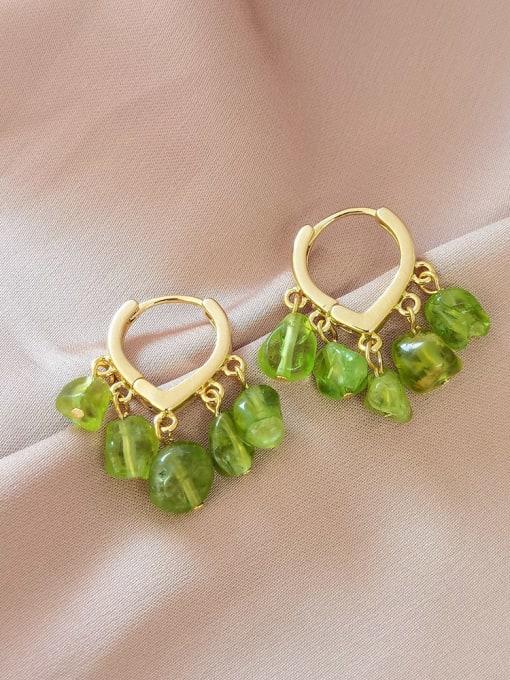 HYACINTH Brass Peridot Heart Vintage Huggie Earring 2