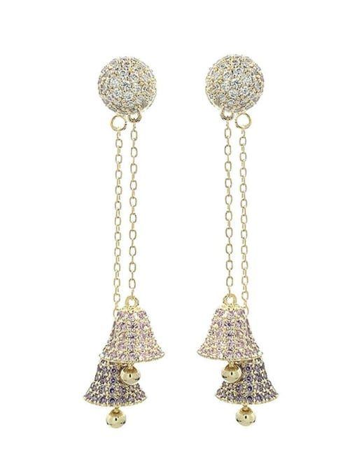 SUUTO Brass Cubic Zirconia Bell Luxury Threader Earring 4