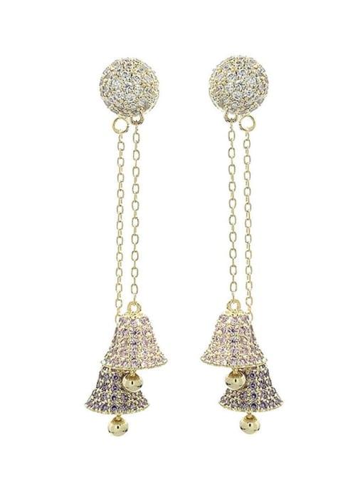 purple Brass Cubic Zirconia Bell Luxury Threader Earring