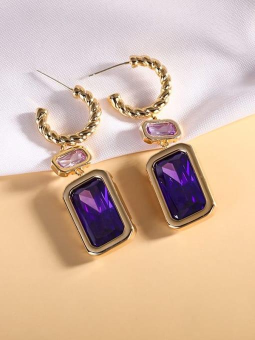 purple Brass Cubic Zirconia Geometric Luxury Hook Earring