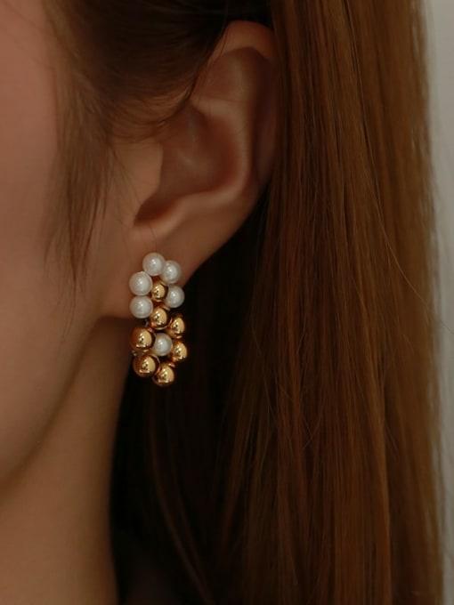 Five Color Brass Bead Geometric Vintage Drop Earring 1