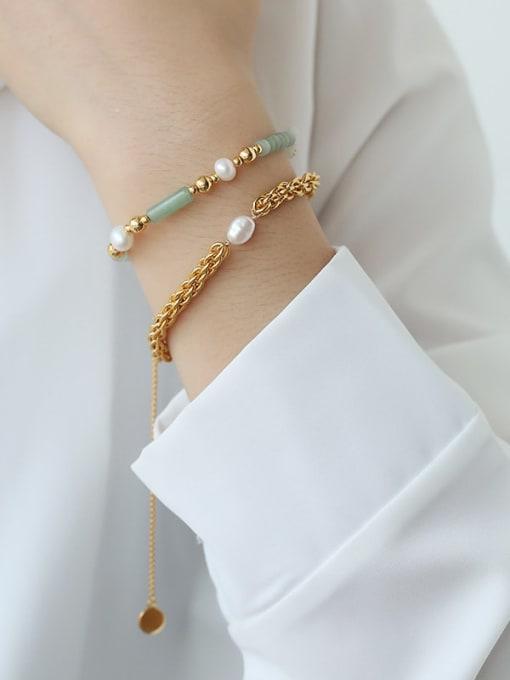TINGS Brass Jade Geometric Hip Hop Strand Bracelet 1