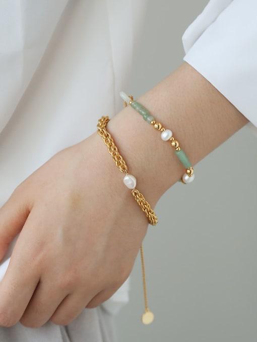 TINGS Brass Jade Geometric Hip Hop Strand Bracelet 2