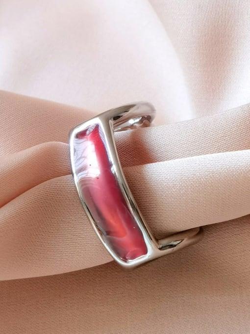 white K Red Alloy Enamel Geometric Minimalist Band Ring