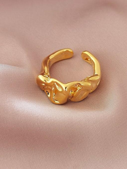 HYACINTH Brass Irregular Vintage Band Ring 1