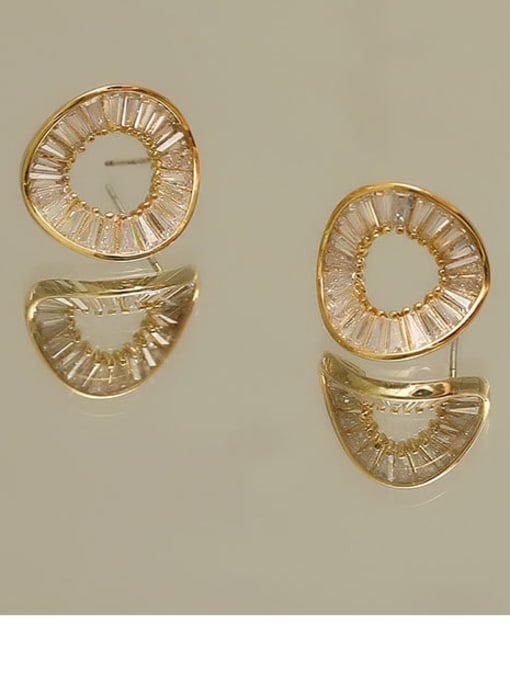 golden Copper Cubic Zirconia Geometric Minimalist Stud Earring