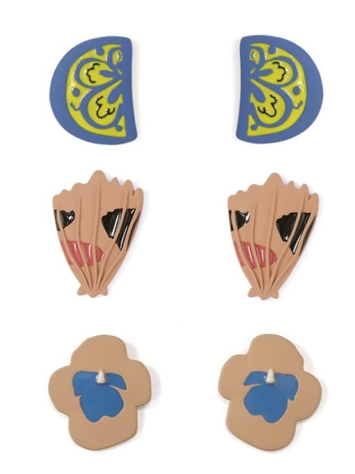 Five Color Alloy Enamel Irregular Cute Stud Earring 0