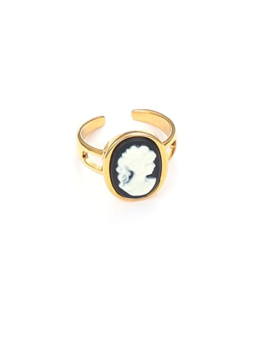 Black and white contrast Brass Resin Geometric Vintage Band Ring