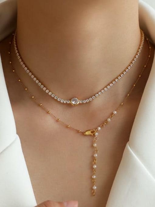 Five Color Brass Cubic Zirconia Geometric Vintage Necklace 1