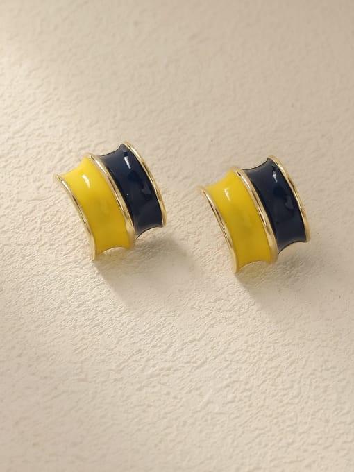 14K golden yellow+ blue Brass Enamel Geometric Vintage Stud Trend Korean Fashion Earring