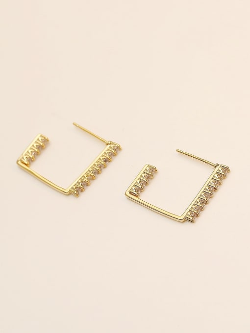 HYACINTH Brass Cubic Zirconia Geometric Vintage Stud Earring 2
