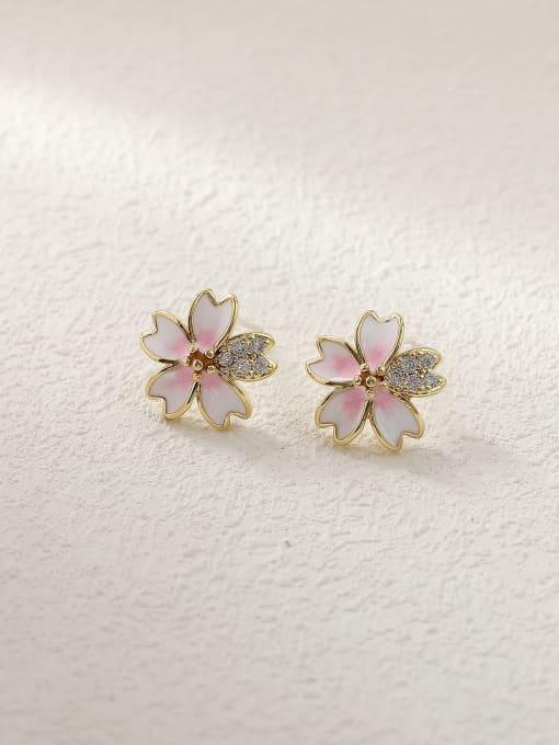 14k Gold Brass Enamel Heart Flower Cute Stud Trend Korean Fashion Earring
