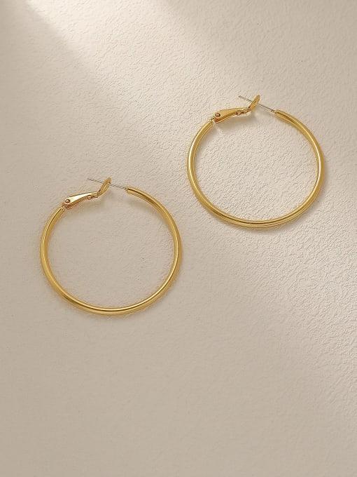 HYACINTH Brass Geometric Minimalist Hoop Trend Korean Fashion Earring 0