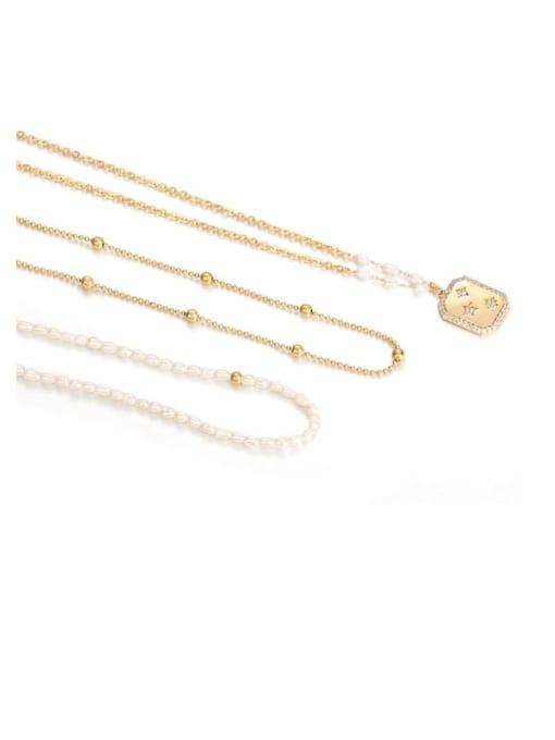 Five Color Brass Imitation Pearl Star Vintage Necklace 3