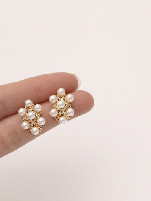 HYACINTH Brass Cubic Zirconia Geometric Dainty Stud Earring