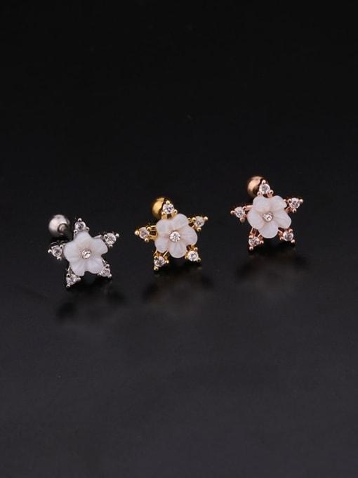 HISON Brass Cubic Zirconia Flower Hip Hop Stud Earring 2