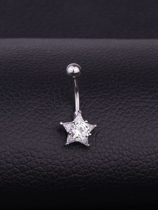white Stainless steel Cubic Zirconia Star Hip Hop Belly Rings & Belly Bars