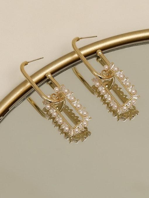 golden Brass Imitation Pearl Geometric Dainty Drop Earring
