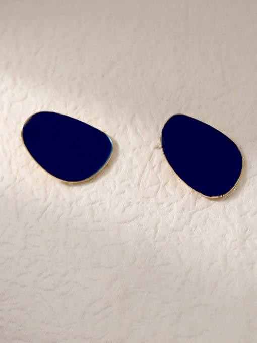 14k Gold Ink Blue Brass Enamel Geometric Vintage Stud Trend Korean Fashion Earring