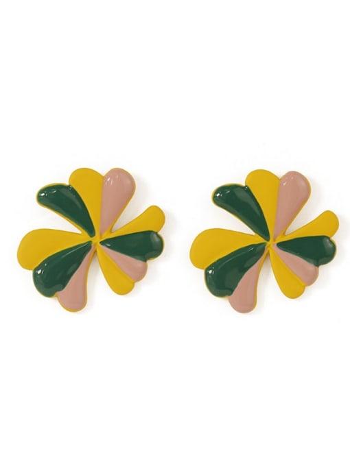Five Color Alloy Enamel Flower Minimalist Stud Earring 4
