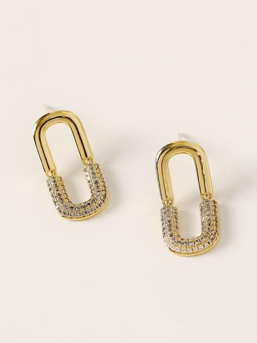 HYACINTH Brass Cubic Zirconia Geometric Minimalist Stud Earring 2