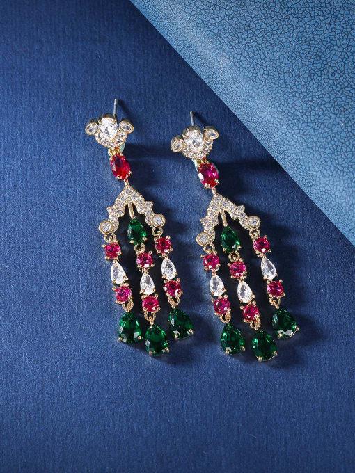 OUOU Brass Cubic Zirconia Tassel Luxury Drop Earring 4