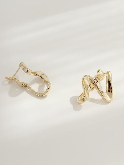 HYACINTH Brass Smooth Irregular Minimalist Stud Earring 3