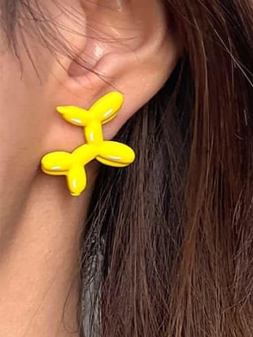 Five Color Alloy Enamel Dog Cute Stud Earring 1