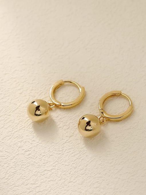 14k Gold Brass Round Minimalist Huggie Earring
