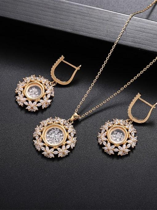 YILLIN Brass Cubic Zirconia Flower Minimalist Necklace 3